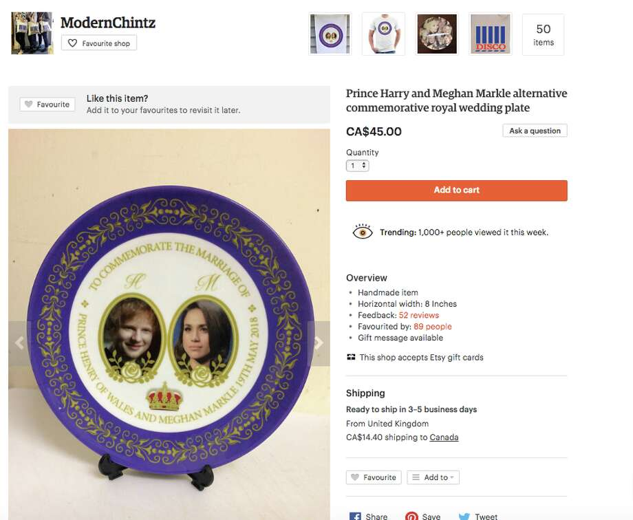 This hilarious plate with pictures of Markle and Ed Sheeran is selling for $45 on Etsy. Photo: Screenshot