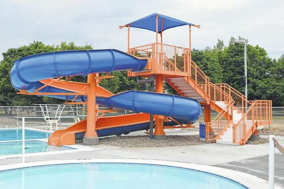 A large slide towers over Sudbrink Waterpark, promising visitors a chance to make a splash in Beardstown. Photo:       Nick Draper | Journal-Courier