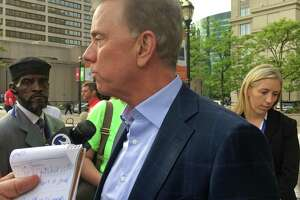 Gubernatorial candidate Ned Lamont spoke to reporters before the start of the state Democratic Convention at the Connecticut Convention Center on Friday May 18, 2018.