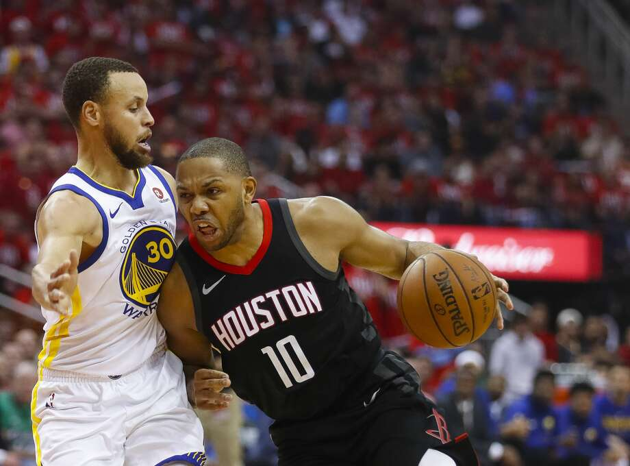 Houston Rockets guard Eric Gordon (10) drives around Golden State Warriors guard Stephen Curry (30) during the first half in Game 1 of the NBA Western Conference Finals at Toyota Center on Monday, May 14, 2018, in Houston. ( Brett Coomer / Houston Chronicle ) Photo: Brett Coomer/Houston Chronicle