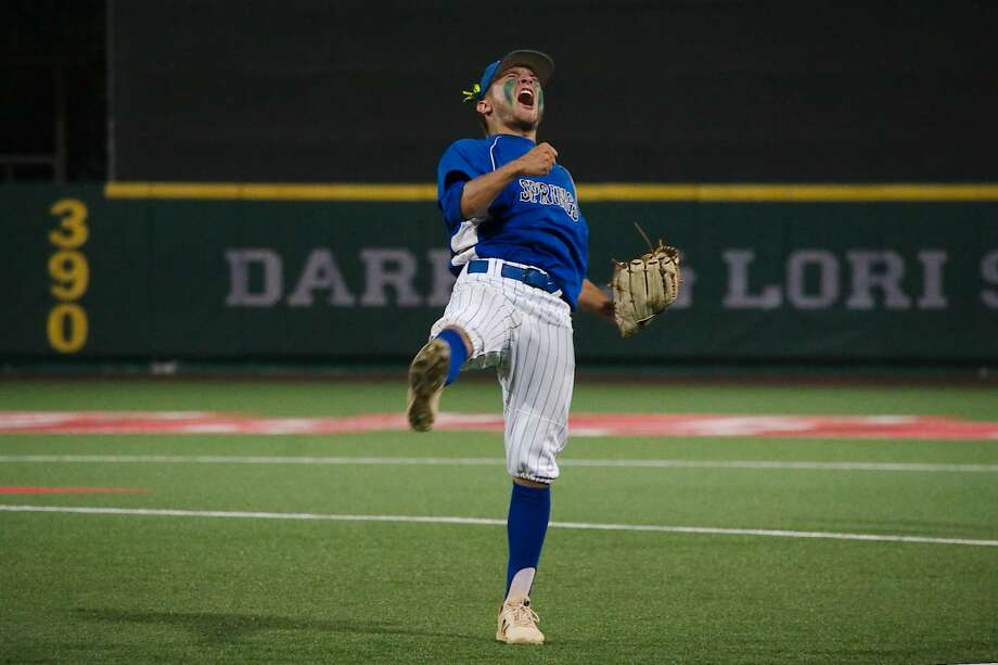 Clear Springs' Riley Schulz  (9) reacts after Clear Springs defeats Kingwood in game 2 Friday, May 18 at the University of Houston. Photo: Kirk Sides/Houston Chronicle