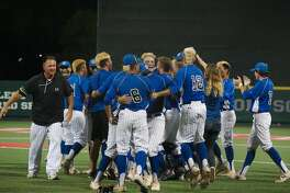 Clear Springs reacts after defeating Kingwood in game 2 Friday, May 18 at the University of Houston.