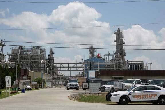 Harris County Sheriff's Office deputies responded to the scene of a fire at the Kuraray EVAL plant Saturday, May 19, 2018, in Pasadena, Texas.