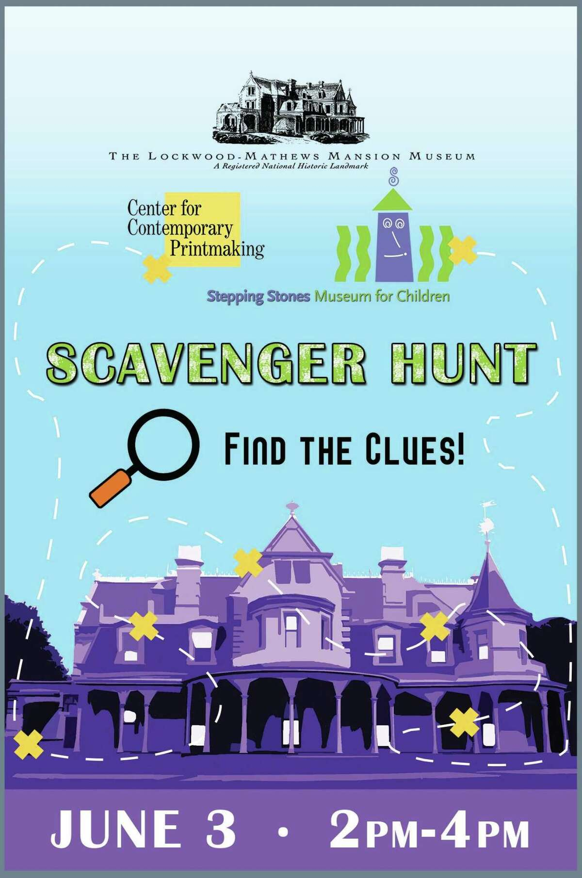 The Lockwood-Mathews Mansion Museum, in association with the Center for Contemporary Printmaking and the Stepping Stones Museum for Children, will host a Scavenger Hunt June 3 at Mathews Park in Norwalk.