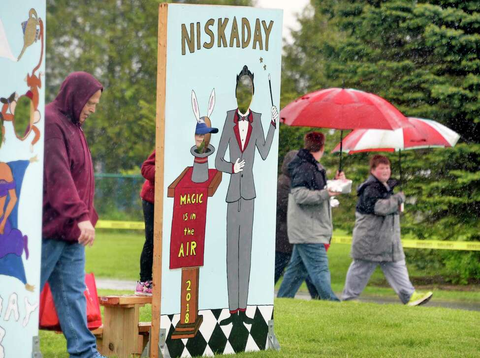 Steady rains didn't seem to dampen spirits at the 37th year Niska-Day Saturday May 19, 2018 in Niskayuna, NY. (John Carl D'Annibale/Times Union)