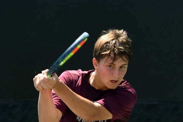 Clear Creek's Carter Crookston, shown in action at the 2018 state tennis tournament, won the 2019 boys' Class 6A singles title Saturday with a straight-sets win. (Jerry Baker/For the Chronicle)