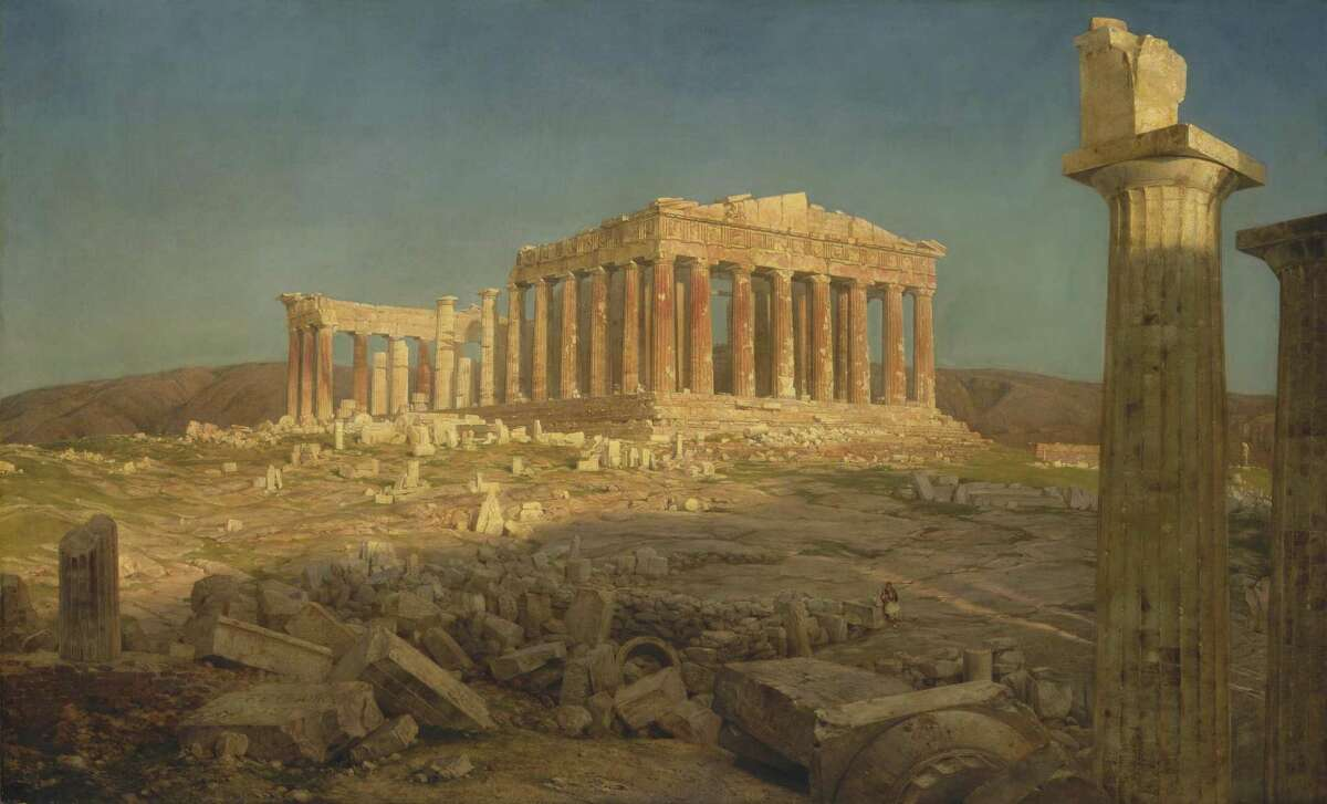 """""""Frederic Church: A Painter's Pilgrimage"""" features the artist's works created following a trip to the Middle East and Mediterranean. It opens to the public at the Wadsworth Atheneum at noon on June 2. Above is """"The Parthenon,"""" 1871, oil on canvas from the Metropolitan Museum of Art, New York."""