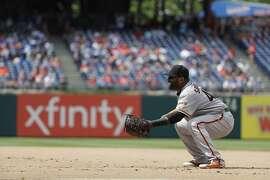 San Francisco Giants' Pablo Sandoval in action during a baseball game against the Philadelphia Phillies, Thursday, May 10, 2018, in Philadelphia. Philadelphia won 6-3. (AP Photo/Matt Slocum)