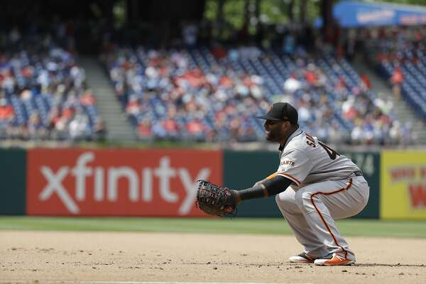 San Francisco Giants' Pablo Sandoval in action during a baseball game against the Philadelphia Phillies, Thursday, May 10, 2018, in Philadelphia. Philadelphia won 6-3. (AP Photo/Matt Slocum)