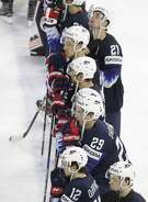 United States players stand on the ice after losing to Sweden 6-0 in the Ice Hockey World Championships semifinal match at the Royal arena in Copenhagen, Denmark, Saturday, May 19, 2018. (AP Photo/Petr David Josek)