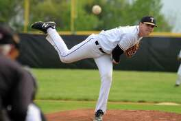 Trumbull pitcher Ryan Gomes on the mound in a game against Danbury in Trumbull on Friday.