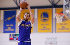 Warriors Stephen Curry, 30 as the NBA Golden State Warriors hold practice in downtown  Oakland, Ca.on Fri. May 18, 2018.