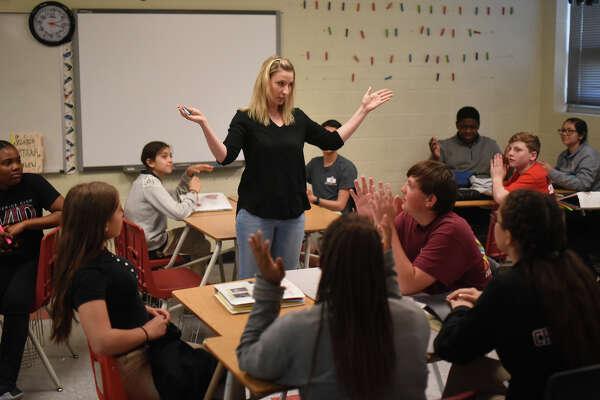 Lyndi Cypher photographed in class May 17, 2018, at Alamo Junior High. James Durbin/Reporter-Telegram