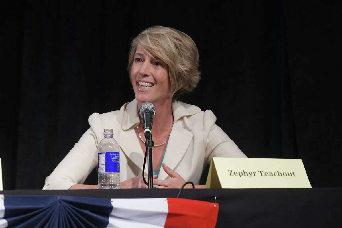 Democrat Zephyr Teachout, takes part in a debate with Republican John Faso at WAMC's Performing Arts Center on Thursday, Sept. 15, 2016, in Albany, N.Y. (Paul Buckowski / Times Union)