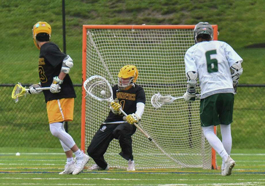 Goalie Patrick Burkinshaw (1) of the Brunswick Bruins makes a save during a game against the Berkshire Bears at the Brunswick School School on Saturday May 19, 2018, in Greenwich, Connecticut. Photo: Gregory Vasil / For Hearst Connecticut Media / Connecticut Post Freelance