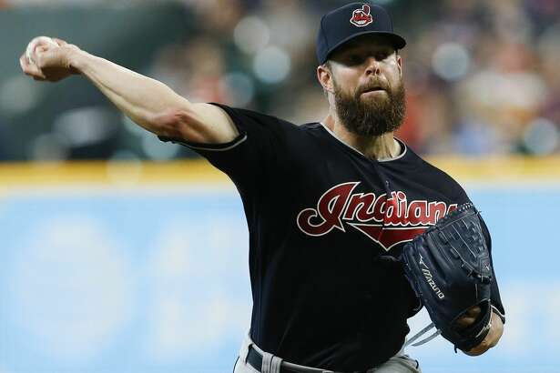 HOUSTON, TX - MAY 19: Corey Kluber #28 of the Cleveland Indians pitches in the  first inning against the Houston Astros at Minute Maid Park on May 19, 2018 in Houston, Texas. (Photo by Bob Levey/Getty Images)