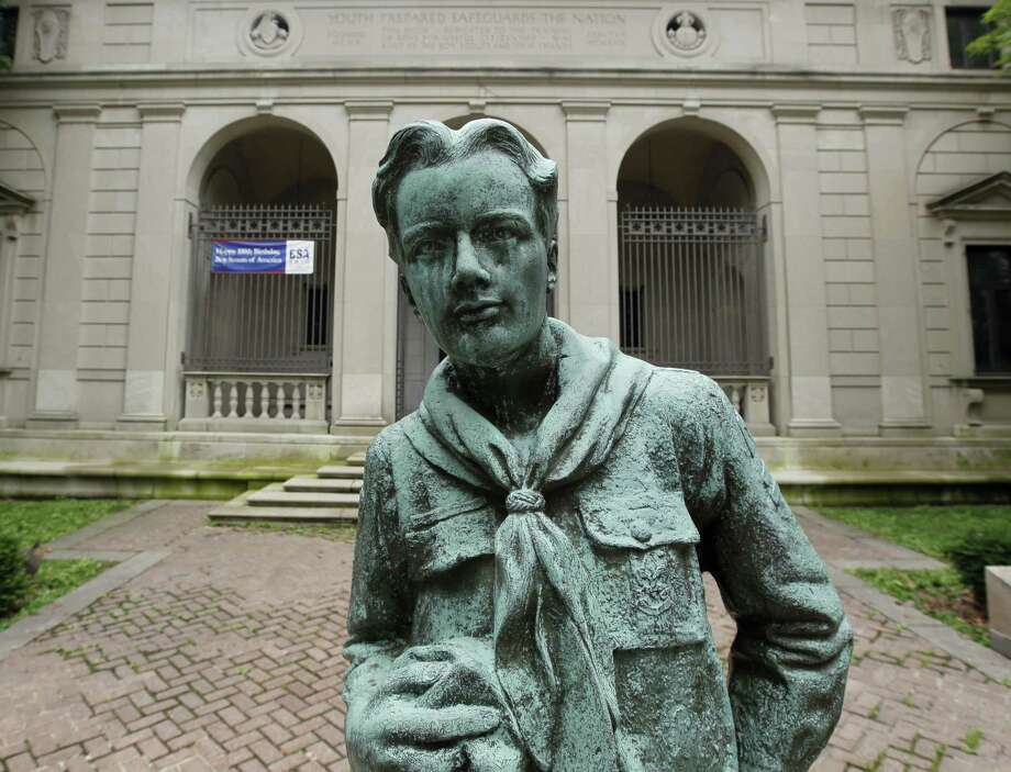 """This statue of a Boy Scout stands in front of the organization's headquarters in Philadelphia in 2010. It's the first life-size statue made of Robert Tait McKenzie's original """"The Ideal Scout"""" artwork, commissioned in 1914. A replica was suggested for HemisFair '68 but was rejected; the statute then found a home at the Alamo Area Council of Boy Scouts headquarters at McGimsey Scout Park on the North Side. Photo: Matt Rourke /AP / AP"""