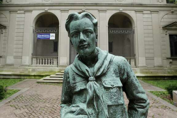 "This statue of a Boy Scout stands in front of the organization's headquarters in Philadelphia in 2010. It's the first life-size statue made of Robert Tait McKenzie's original ""The Ideal Scout"" artwork, commissioned in 1914. A replica was suggested for HemisFair '68 but was rejected; the statute then found a home at the Alamo Area Council of Boy Scouts headquarters at McGimsey Scout Park on the North Side."