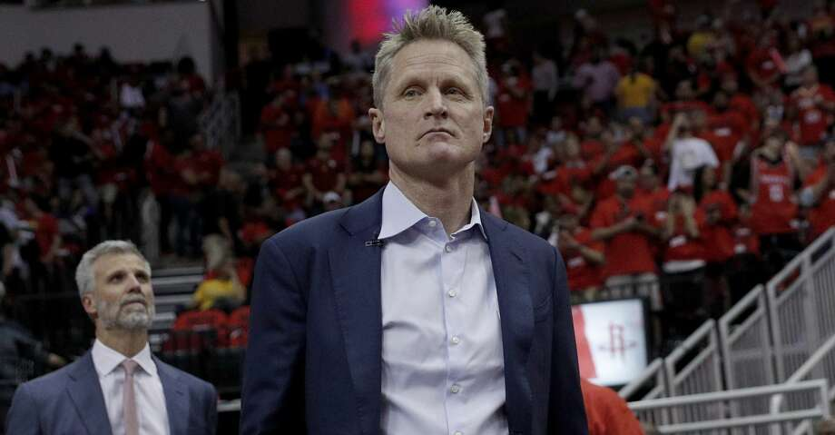 Coach Steve Kerr enters the court as the Golden State Warriors play the Houston Rockets in Game 2 of the Western Conference Finals at Toyota Center in Houston, Texas, on Wednesday, May 16, 2018. Photo: Carlos Avila Gonzalez/The Chronicle