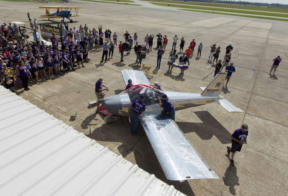 Bear Force 1, a Van's Aircraft RV-12 airplane built by Montgomery High School's aerospace engineering class, is unveiled before its inaugural public flight at the Conroe-North Houston Regional Airport on Saturday, May 19, 2018, in Conroe. Photo: Jason Fochtman, Staff Photographer / Houston Chronicle / © 2018 Houston Chronicle