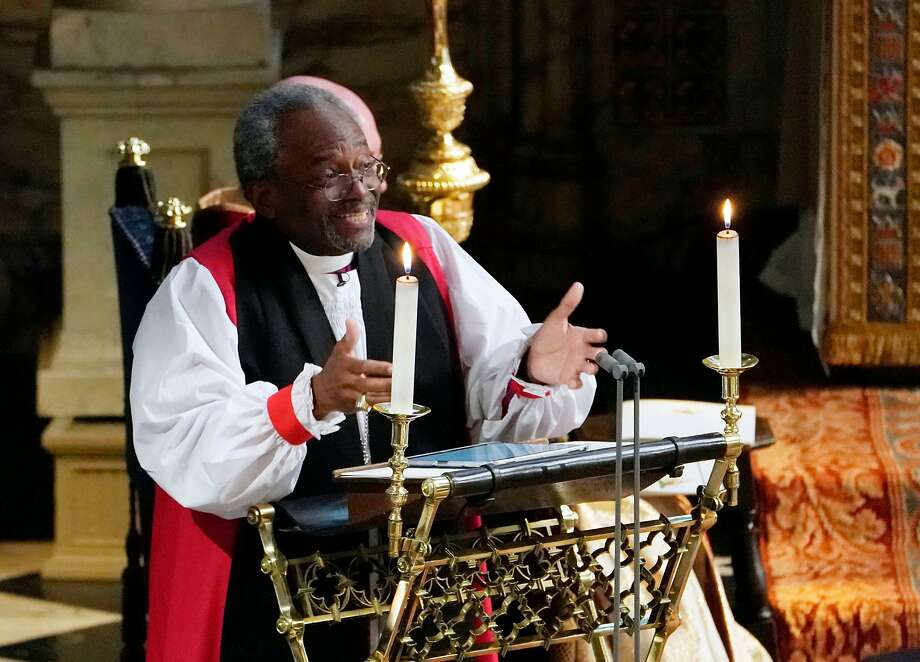 Bishop Michael Bruce Curry gives a reading during the wedding ceremony of Britain's Prince Harry, Duke of Sussex and US actress Meghan Markle in St George's Chapel, Windsor Castle, in Windsor, on May 19, 2018.  / AFP PHOTO / POOL / Owen HumphreysOWEN HUMPHREYS/AFP/Getty Images Photo: OWEN HUMPHREYS, AFP/Getty Images