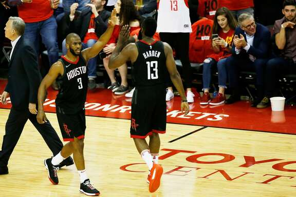 HOUSTON, TX - MAY 16:  Chris Paul #3 and James Harden #13 of the Houston Rockets react in the second half against the Golden State Warriors in Game Two of the Western Conference Finals of the 2018 NBA Playoffs at Toyota Center on May 16, 2018 in Houston, Texas.  (Photo by Tim Warner/Getty Images)