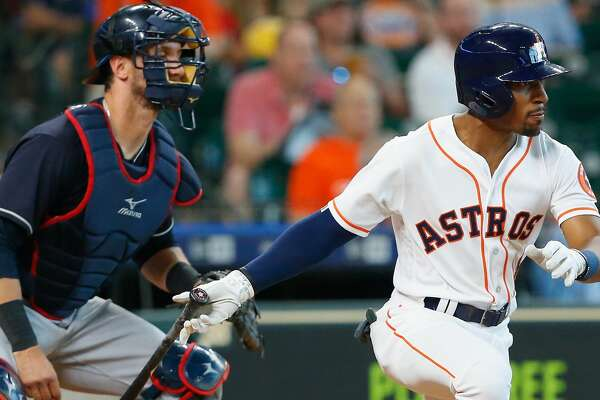 HOUSTON, TX - MAY 19:  Tony Kemp #18 of the Houston Astros grounds into a double play in the fifth inning against the Cleveland Indians at Minute Maid Park on May 19, 2018 in Houston, Texas. (Photo by Bob Levey/Getty Images)