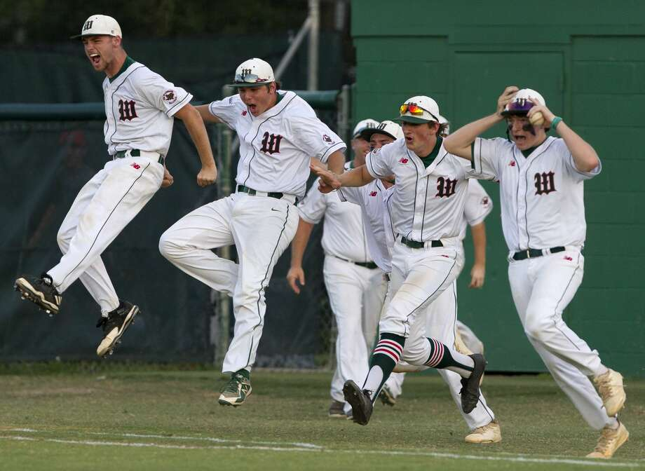The Woodlands players react after defeating Montgomery 9-2 in Game 3 of a Class 6A Region II quarterfinal series on Saturday, May 19, 2018, in The Woodlands. Photo: Jason Fochtman/Houston Chronicle