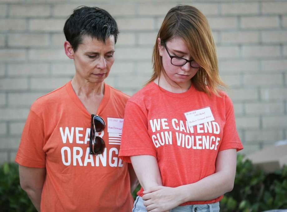 Annika Gallaway of Students Demand Action, right, and her mother, Helene, are pictured at a vigil for the victims of the Santa Fe High School shooting on Saturday, May 19, 2018, in Spring. Photo: Michael Minasi, Staff Photographer / Houston Chronicle / © 2018 Houston Chronicle