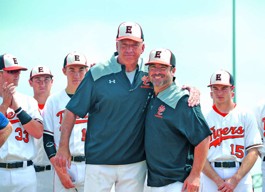 Mike Waldo, in his 38th and final season as Edwardsville's pitching coach, was honored prior to Saturday's game against Springfield