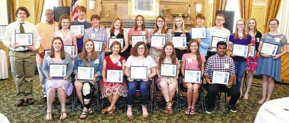 The Kiwanis Club of Jacksonville recognized the top 10 percent of local high school graduates during the club's Thursday meeting. Recipients of the Kiwanis 2018 Academic Excellence Award include: Ellie Abell (seated, from left) (Routt Catholic High School), Maysel Gibson (Jacksonville High School), Ellinor Smith (JHS), Rachel Anderson (JHS), Kalleigh Burke (RCHS), Camri Middleton (JHS) and Tej Patel (JHS); and Ryan Dreyer (standing, from left) (Illinois School for the Deaf), Jaylen Brady (Illinois School for the Visually Impaired), Jordan Brockhouse (JHS), Andrew Blue (JHS), Samuel Brockschmidt (JHS), Rachel Edwards (JHS), Sydney Hembrough (JHS), Morgan Jessie (JHS), Sarah Miner (JHS), Ethan Karr (JHS), Michael Lapa (ISD), Ragen Myers (JHS), Madeline Fellhauer (RCHS) and Camille Blanford (JHS). Also recognized but not in attendance were Caleb Babb and Andrew Helmich, both of Westfair Christian Academy; and Aaron Blue, Megan Connors, Luke Hewitt, Jonah Pattie, Alexis Shanks and Fisher Thomas, all of JHS. Photo:       Photo Provided | Warmowski Photography