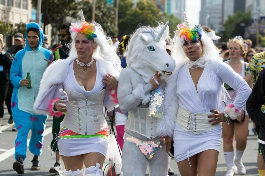 FILE — 2018: Here are the best Bay to Breakers group costumes from the past ten years. To start with, here are some unicorns from 2018. Photo: Douglas Zimmerman