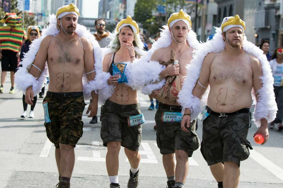 A group of eagles take part in the 2018 Bay to Breakers on Howard Street on May 20, 2018. Photo: Douglas Zimmerman