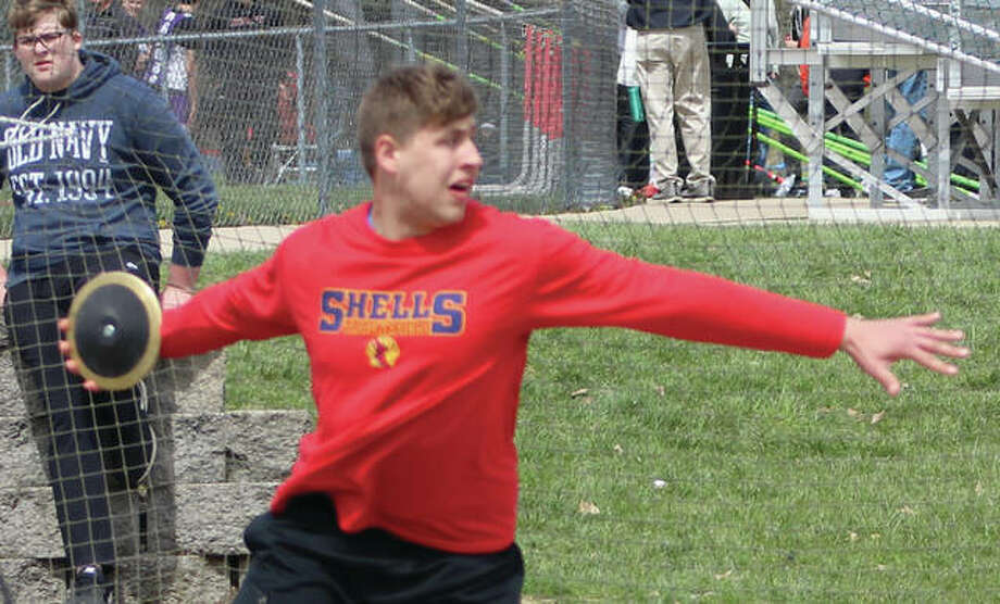 Roxana senior Jordan Hawkins warms up before getting off the winning throw in the discus at the Winston Brown Invite earlier this season at Edwardsville. Hawkins, who won the meet with a throw of 184-5 and owns a season-best toss of 194-5, went 181-10 on Friday to win the Lincoln Class 2A Sectional. Hawkins in the No. 1 seed at next week's Class 2A state meet in Charleston. Photo:       Greg Shashack / The Telegraph