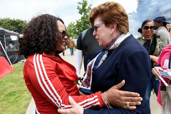 "California gubernatorial candidate Delaine Eastin, left, talks with Stacy Hogg during the ""BBQ'n While Black"" party at Lake Merritt in Oakland, CA, on Sunday May 20, 2018."
