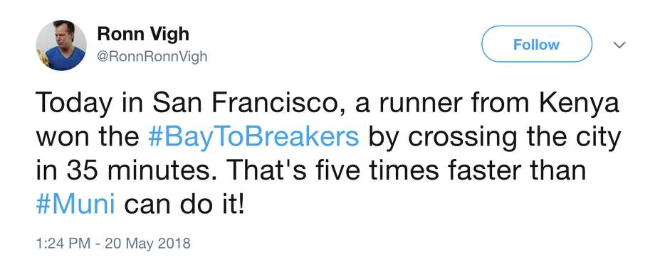 San Francisco netizens react to the annual Bay to Breakers race. Photo: Twitter/@RonnRonnVigh