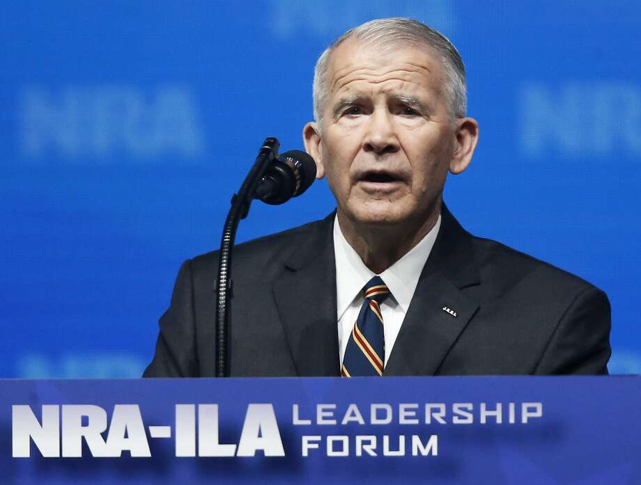 In this May 4, 2018 photo, former U.S. Marine Lt. Col. Oliver North speaks before giving the Invocation at the National Rifle Association-Institute for Legislative Action Leadership Forum in Dallas. Photo: Sue Ogrocki, Associated Press