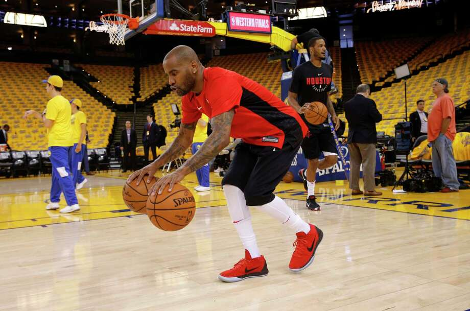 Rockets Aaron Jackson (5) during warm ups as the Houston Rockets prepare to take on Golden State Warriors in game 3 of the Western Conference NBA finals at Oracle Arena in Oakland, Ca., on Sun. May 20, 2018. Photo: Michael Macor, The Chronicle / ONLINE_YES