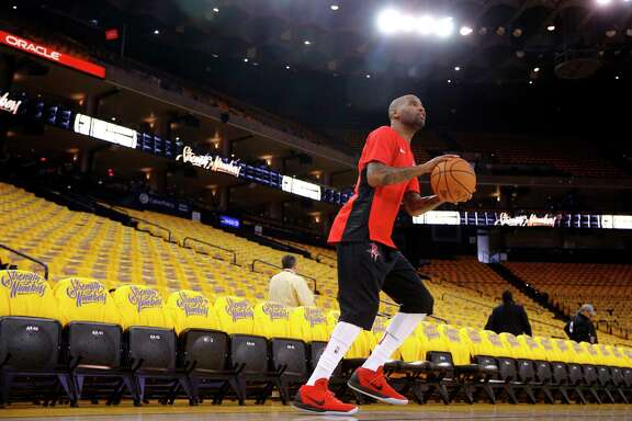Rockets Aaron Jackson (5) during warm ups as the Houston Rockets prepare to take on Golden State Warriors in game 3 of the Western Conference NBA finals at Oracle Arena in Oakland, Ca., on Sun. May 20, 2018.