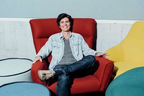 """Tig Notaro at the Netflix headquarters in Los Angeles, May 6, 2018. The comic, who's back with a special about her family happiness, is relieved she's no longer """"tied to such a negative person,"""" a.k.a. Louis C.K., who was a producer on her lauded Amazon series, """"One Mississippi."""" (Graham Walzer/The New York Times)"""