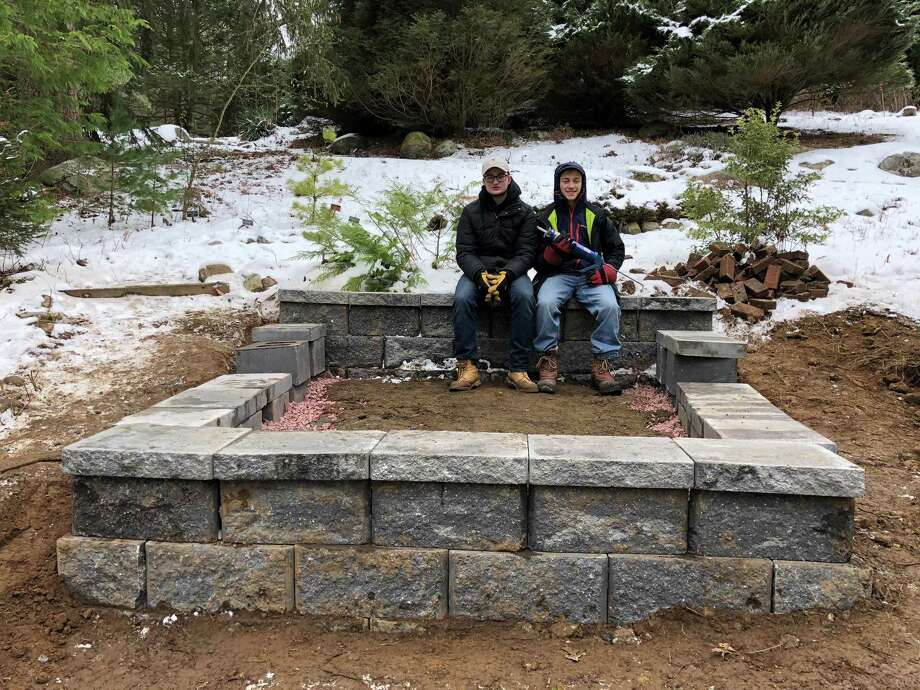 Sam Terr, left, and Josh Appel, of Stamford, working on Terr s Eagle Scout project in the Bartlett Arboretum. Photo: Contributed Photo / Contributed Photo / Stamford Advocate contributed