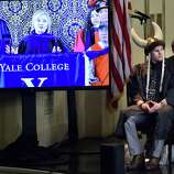 New Haven, Connecticut - Sunday,  May 20, 2018: Former Secretary of State and former Democratic Presidential candidate Hillary Clinton goes the Class Day address  Sunday afternoon to the Yale College class of 2018  at Yale University's  Woolsey Hall in New Haven.  As a tradition, Yale students and faculty wear humorous and playful hats during Class Day Exercises.