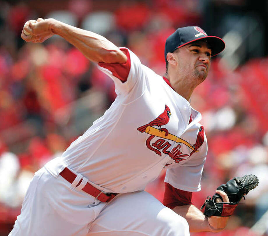 Cardinals starting pitcher Jack Flaherty throws during the first inning against the Philadelphia Phillies on Sunday at Busch Stadium. Flaherty struck out 13 in his first major-league win. Photo:       Associated Press