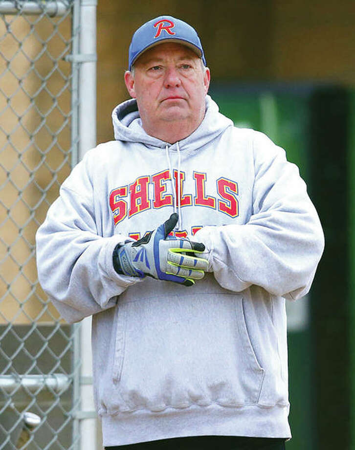 Roxana coach Mike Arbuthnot said his final goodbye as a longtime prep coach in multiple sports when Shells softball was eliminated in Class 2A regional play last week. Photo:       Billy Hurst / Telegraph File Photo