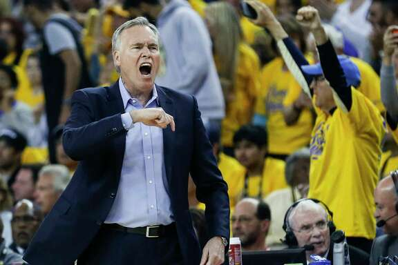 Houston Rockets head coach Mike D'Antoni reacts to a play during the first half of Game 3 of the Western Conference Finals against the Golden State Warriors at Oracle Arena Sunday, May 20, 2018 in Oakalnd.