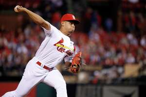 St. Louis Cardinals relief pitcher Jordan Hicks throws during the seventh inning of a baseball game against the New York Mets Tuesday, April 24, 2018, in St. Louis. (AP Photo/Jeff Roberson)