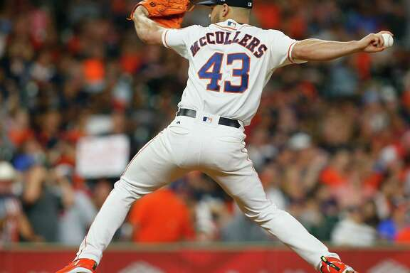 HOUSTON, TX - MAY 20:  Lance McCullers Jr. #43 of the Houston Astros pitches in the sixth inning against the Cleveland Indians at Minute Maid Park on May 20, 2018 in Houston, Texas.