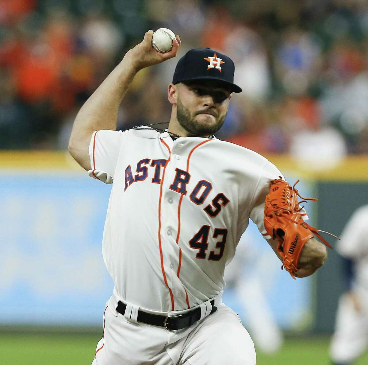 HOUSTON, TX - MAY 20: Lance McCullers Jr. #43 of the Houston Astros pitches in the first inning against the Cleveland Indians at Minute Maid Park on May 20, 2018 in Houston, Texas.