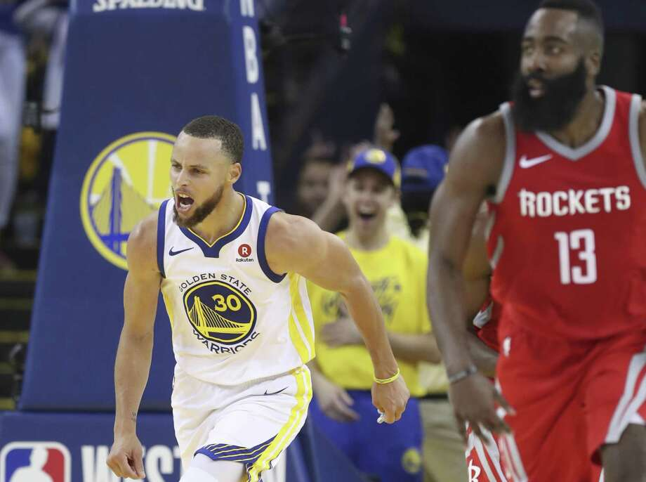 Golden State Warriors' Stephen Curry reacts in the third quarter during game 3 of the Western Conference Finals between the Golden State Warriors and the Houston Rockets at Oracle Arena on Sunday, May 20, 2018 in Oakland, Calif. Photo: Scott Strazzante / The Chronicle / online_yes