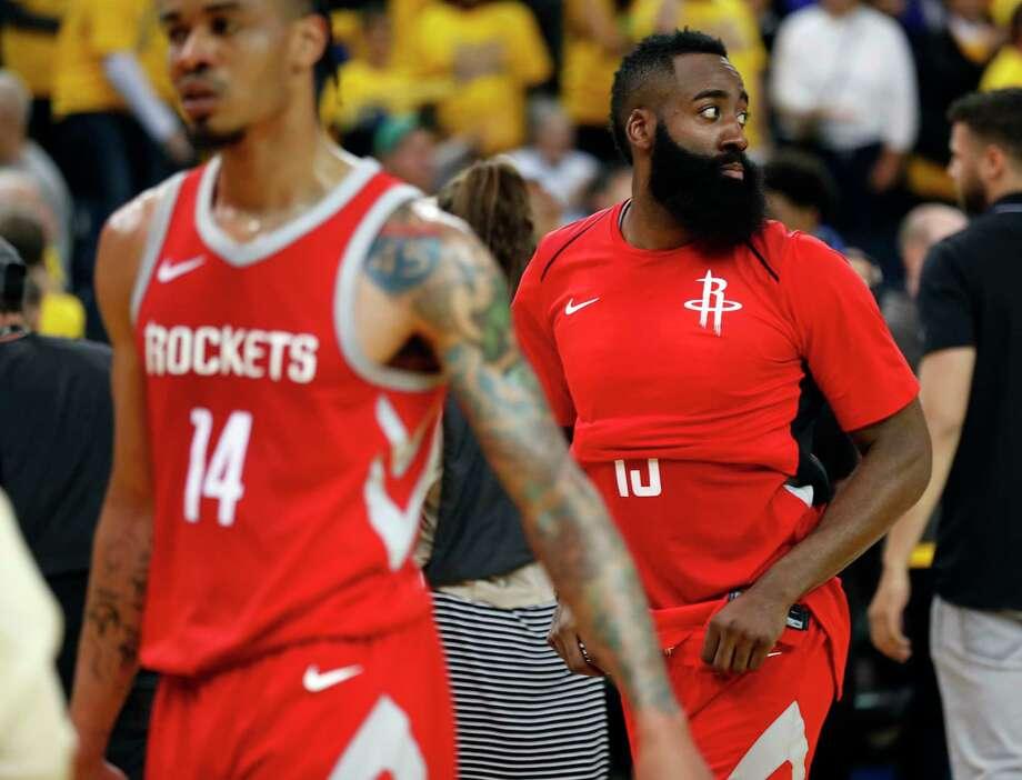 Houston Rockets  James Harden and Gerald Green (14) leave the court after  Golden 1c5de4b31